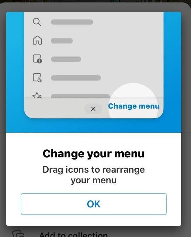 Edge iOS Change Menu to rearrange menu