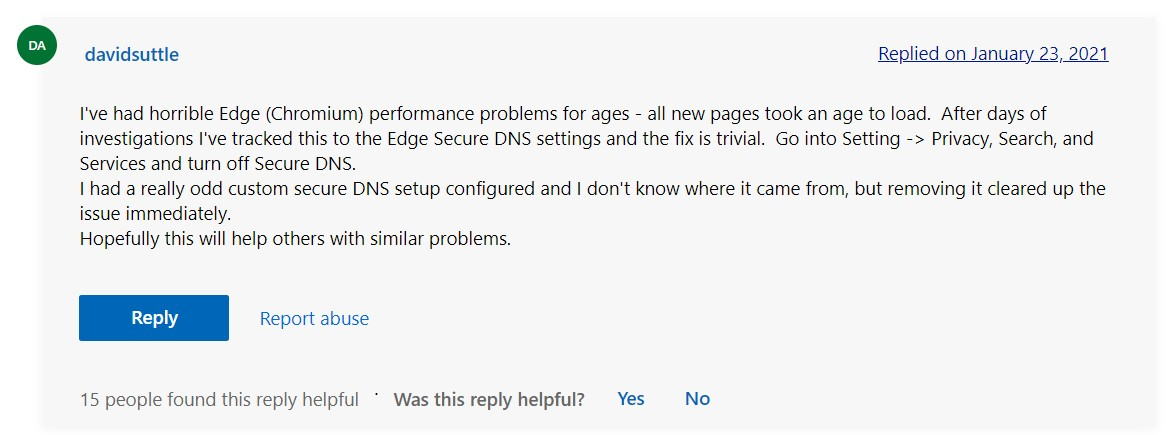 Edge user suggestion to turn off Secure DNS to improve Edge performance