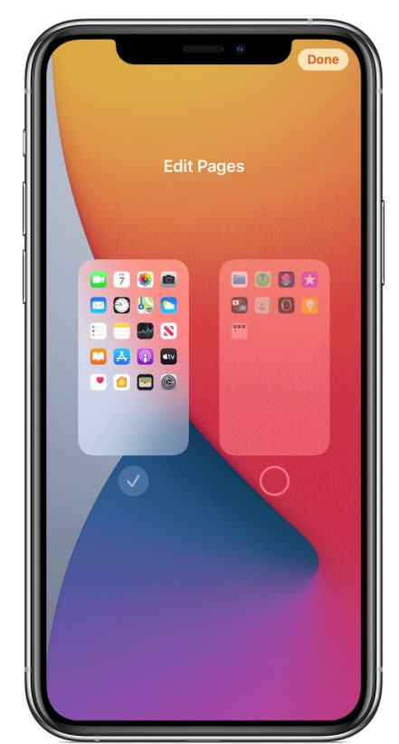 Edit Home screen Pages in iPhone