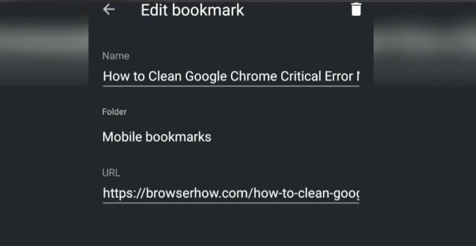 Edit Chrome Mobile Android Bookmarks