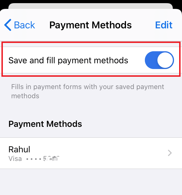 Enable Autofilling Payment Methods in Chrome iPhone