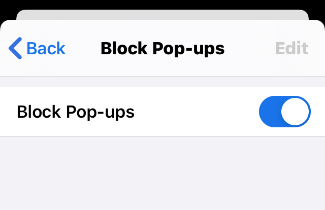 Enable Block Pop-ups option in Chrome iPhone