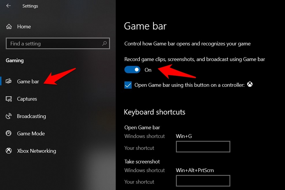 Enable Game bar in Windows 10 OS