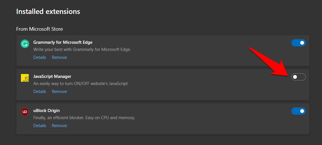 Enable JavaScript Manager Extension in Microsoft Edge