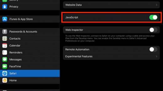 Enable JavaScript on Safari iPhone or iPad