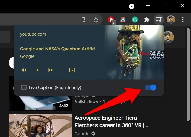 Enable Live Caption from Chrome Toolbar