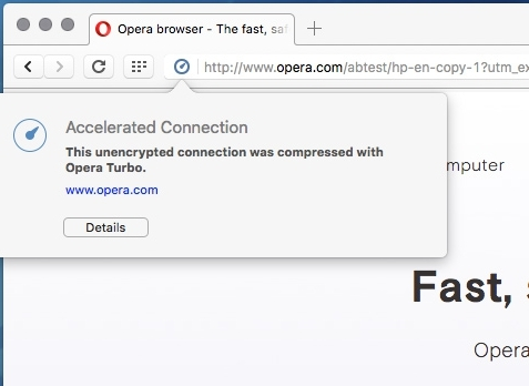 Enable or Disable Opera Turbo feature