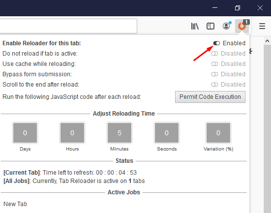 Enable Reloader for this Tab in Firefox