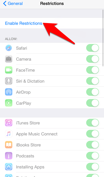 Enable Restriction option in iOS
