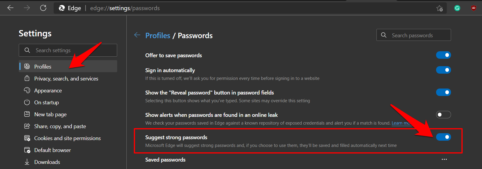 Enable toggle for strong password suggestion in Edge