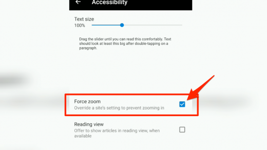 Enable Force zoom in Microsoft Edge for Android