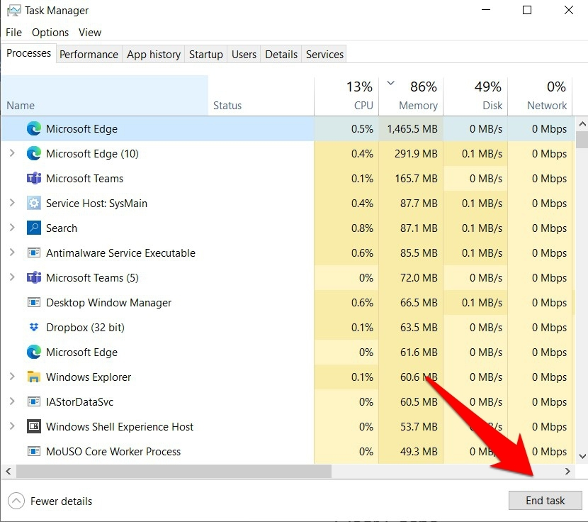 End Microsoft Edge Task from Windows Task Manager