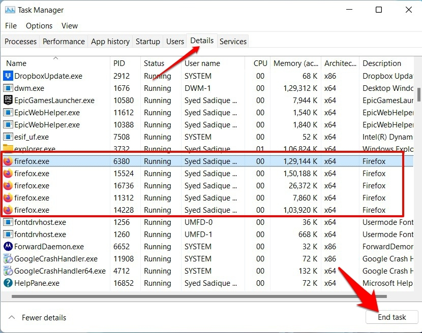End Mozilla Firefox running process from Task Manager Details tab