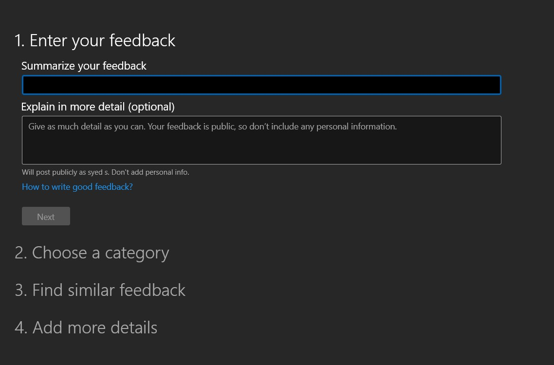 Enter Feedback and Details within Windows Feedback Hub for Edge browser