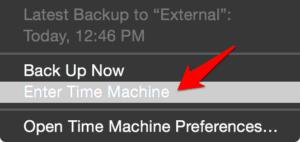 Enter Time Machine Backup on MacOS
