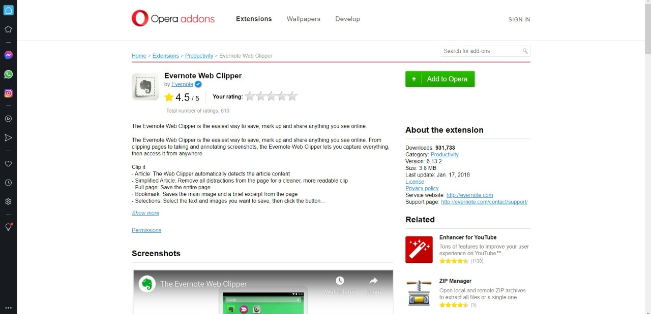Evernote Web Clipper for Opera Browser