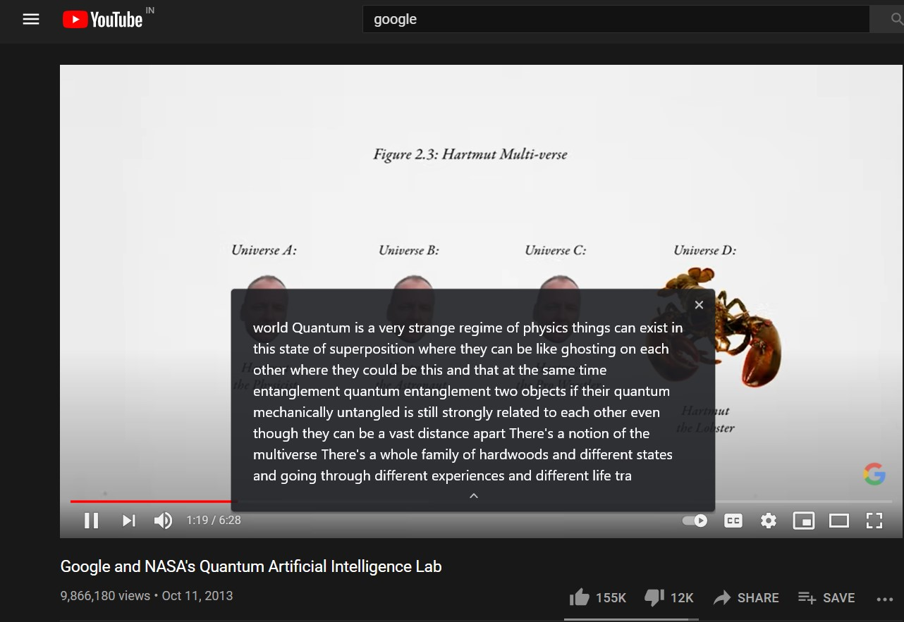 Expand Closed Live Caption in Chrome