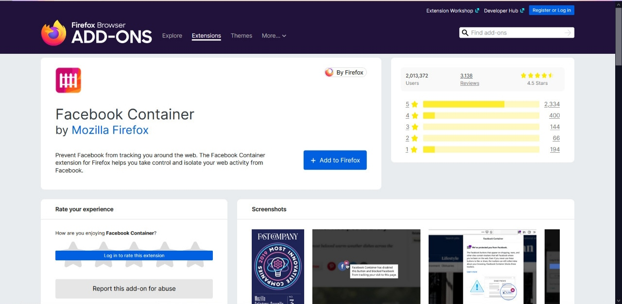 Facebook Container Privacy Add-on Firefox