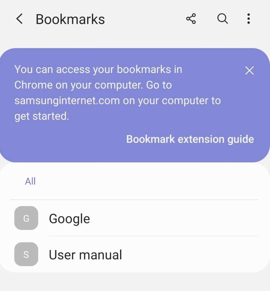 Favorites and Bookmarks in Samsung Internet