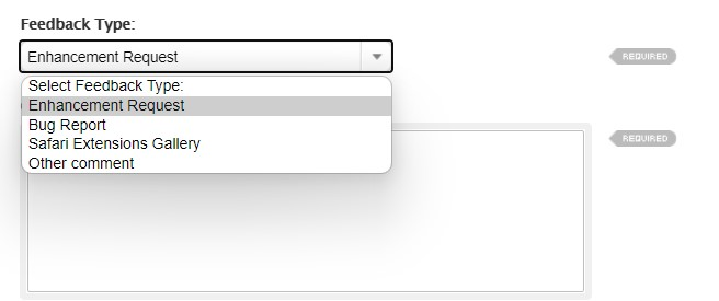 Feedback Type Enhancement Request for Safari browser