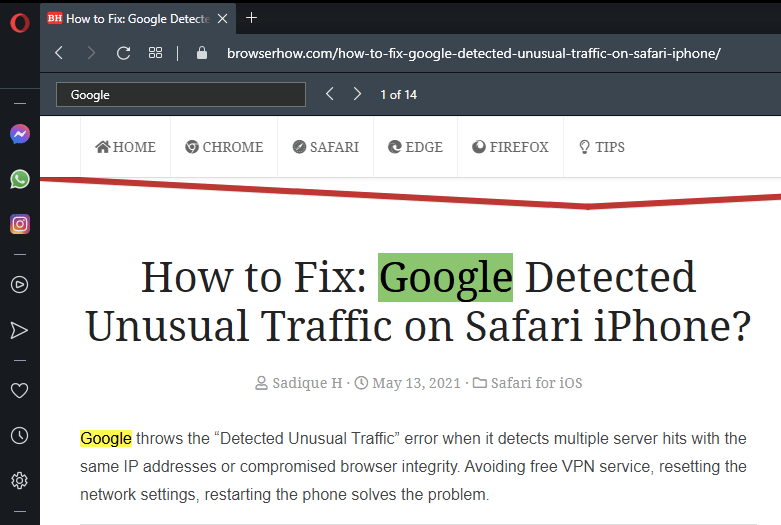 Find on Page Opera browser example