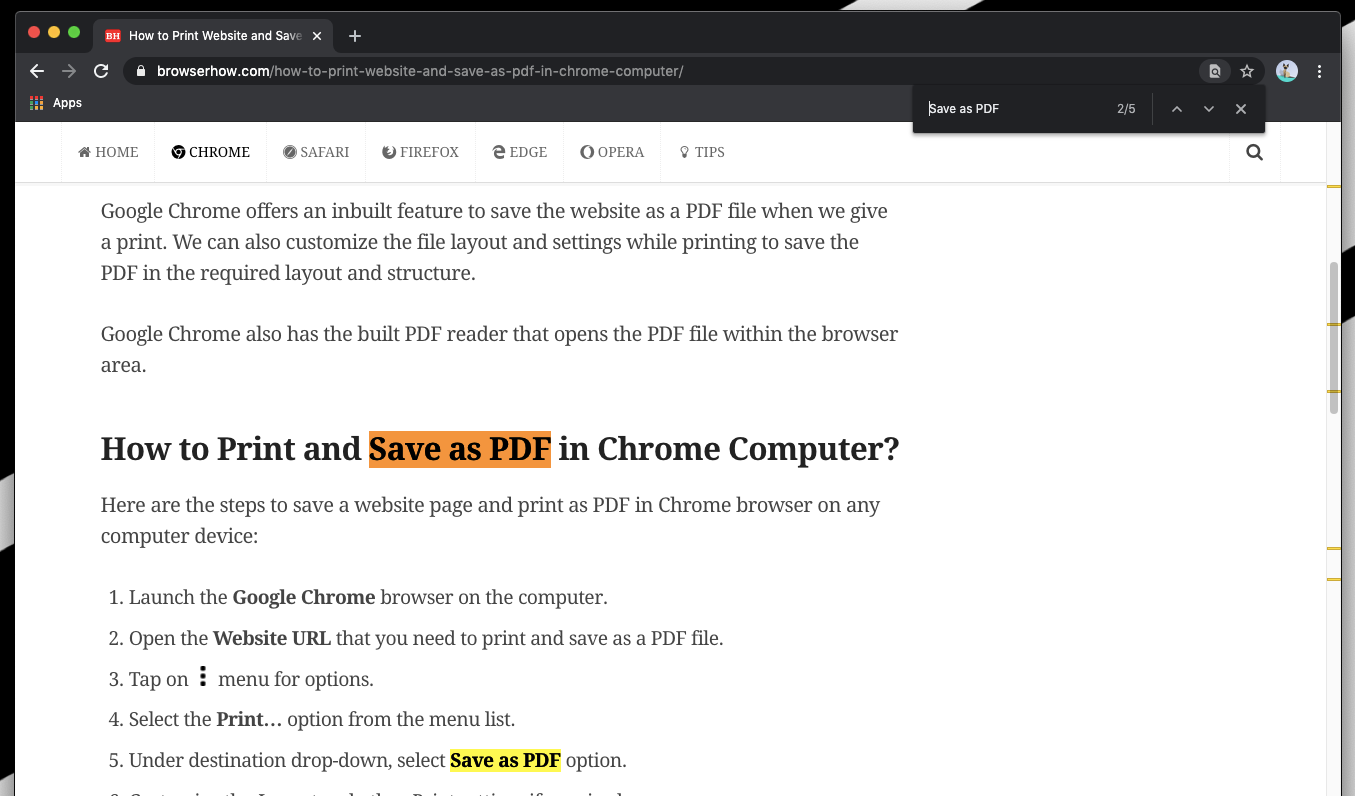 Find on Page with Highlights in Chrome Computer