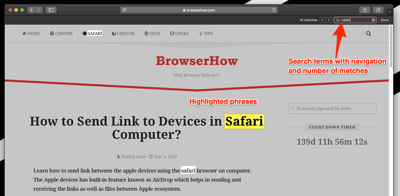 Find on page bar and matches on safari browser mac computer