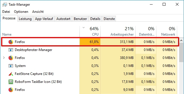 Firefox Browser High CPU usage in Windows Task Manager