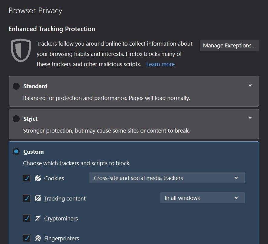Firefox Browser Privacy Settings - Enhanced Tracking Protection