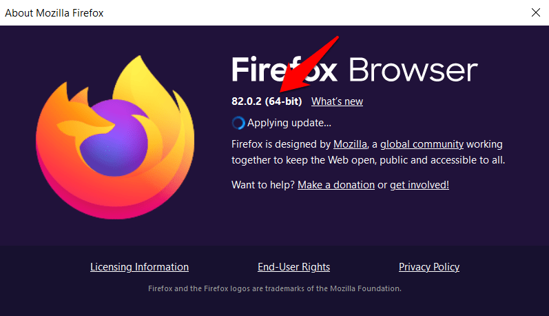 Firefox Browser Version and Architecture