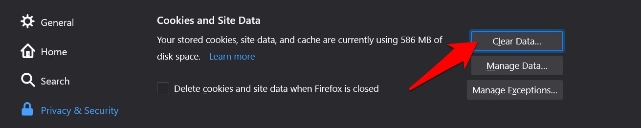 Firefox Clear Data command button