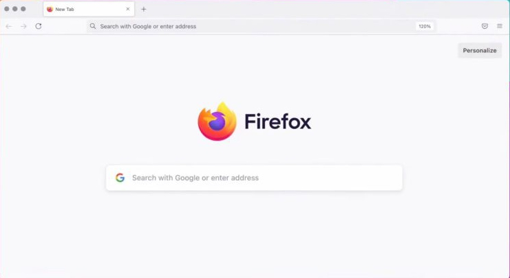 Firefox Home Screen after redesign