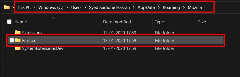 Firefox Local App Data Storage folder in Windows PC