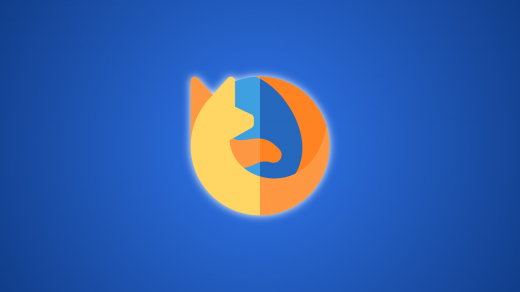 Firefox Logo with Dark Blue Gradient Background