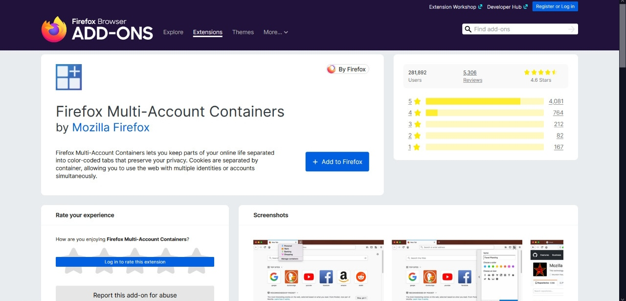 Firefox Multi-Account Container Add-on