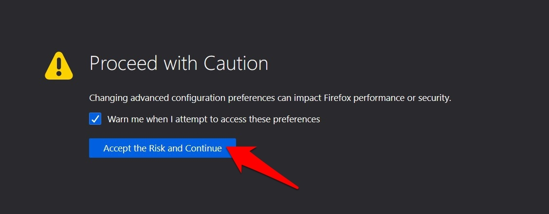 Firefox Proceed with Caution