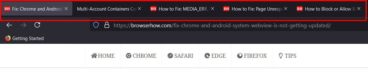 Firefox Redesigned Tab bar with tabs open