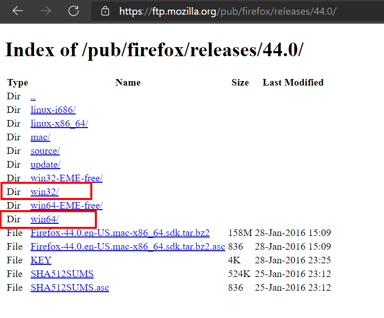 Firefox Version and Architecture Directory in FTP