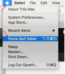 Force Quit Safari Option in Menu option