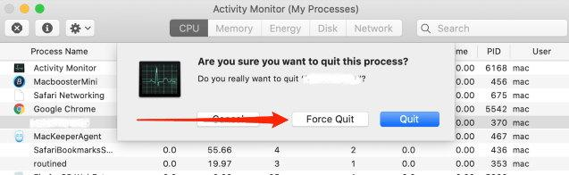 Force Quit command in Activity Monitor app