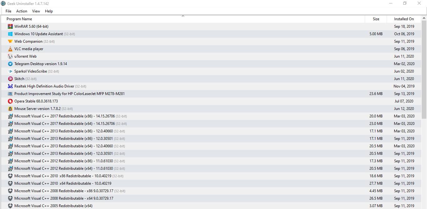 Geek Uninstaller Program in Windows OS