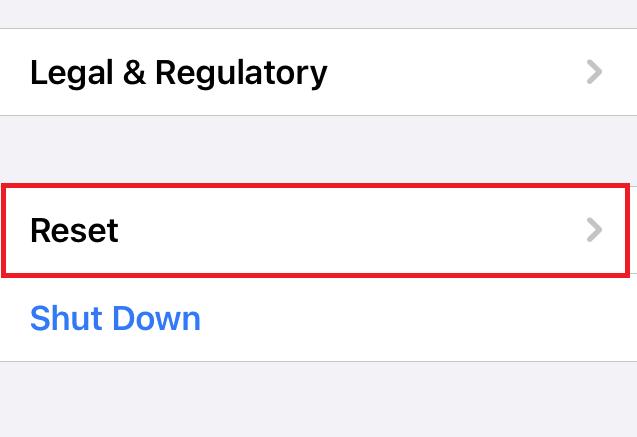 General Settings Reset Tab in iPhone