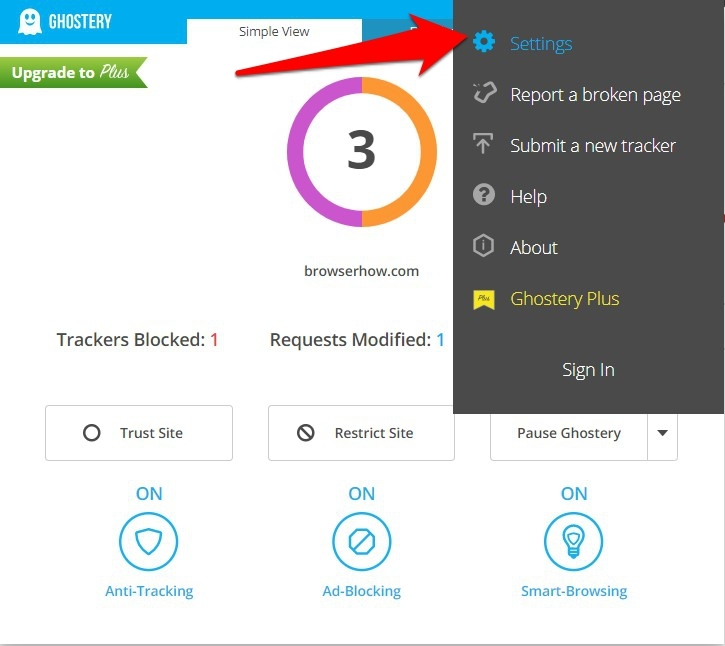Ghostery Extension Settings option menu