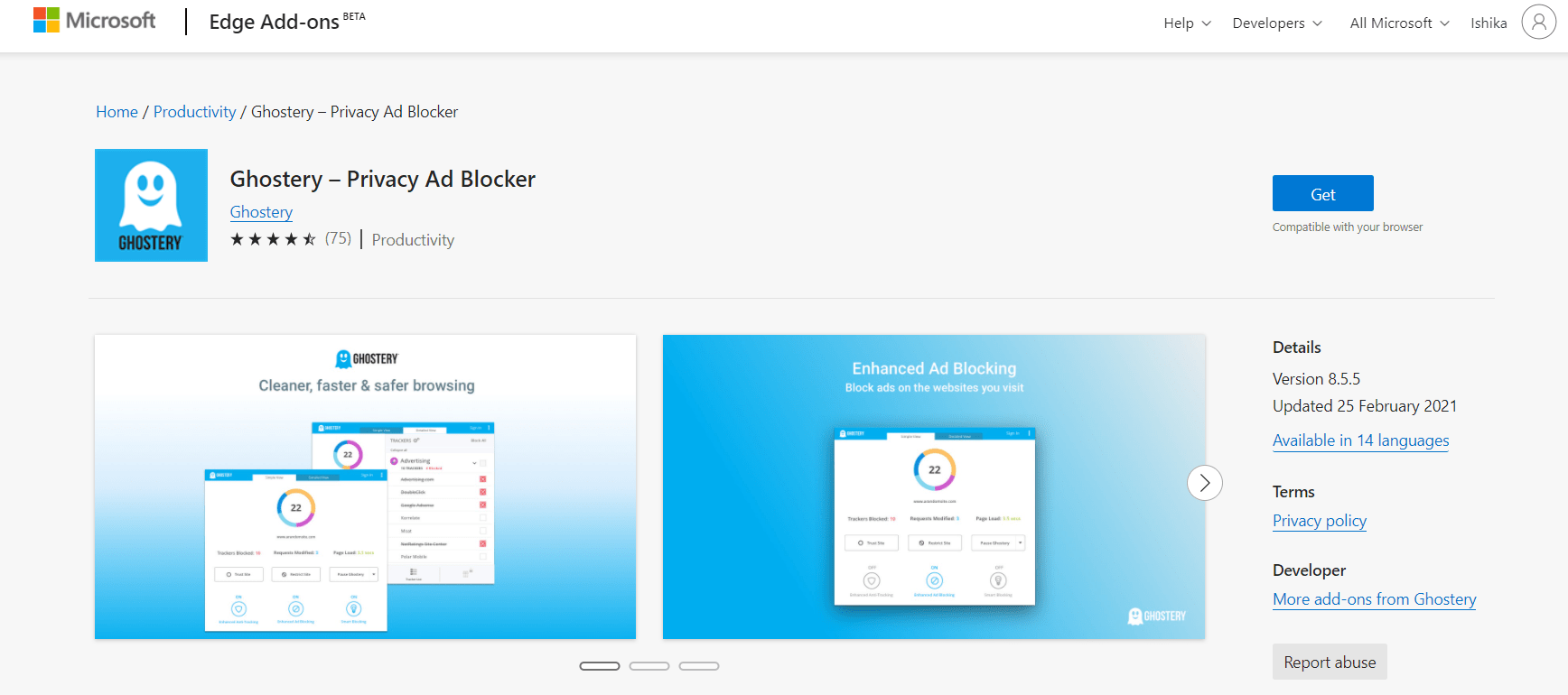 Ghostery Privacy and AdBlocker Edge Add-on