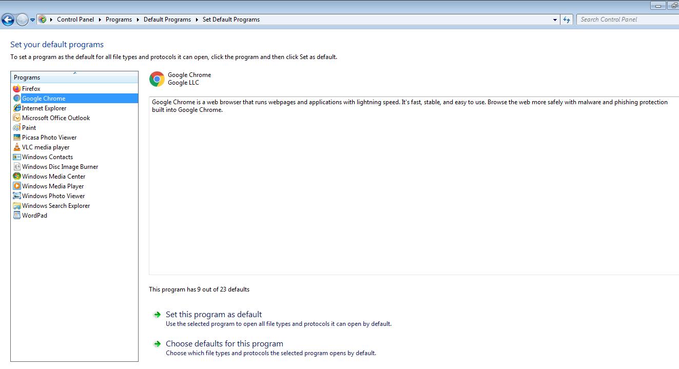 Google Chrome Set as Default Program in Windows 7