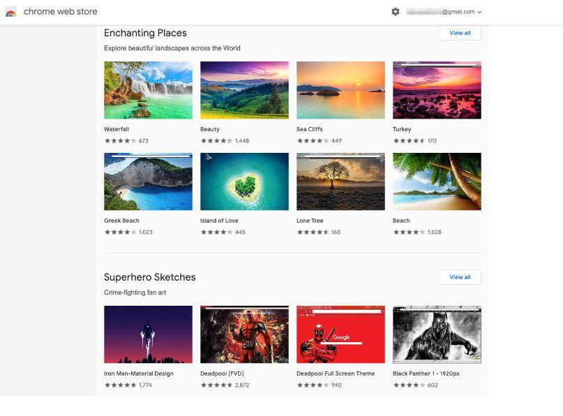 Google Chrome Web Store Themes Collection