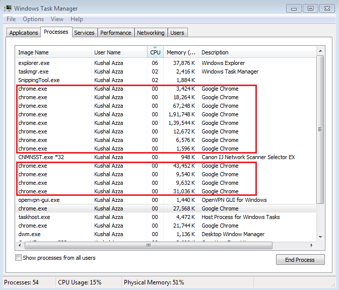 Google Chrome chrome.exe processes in Task Manager