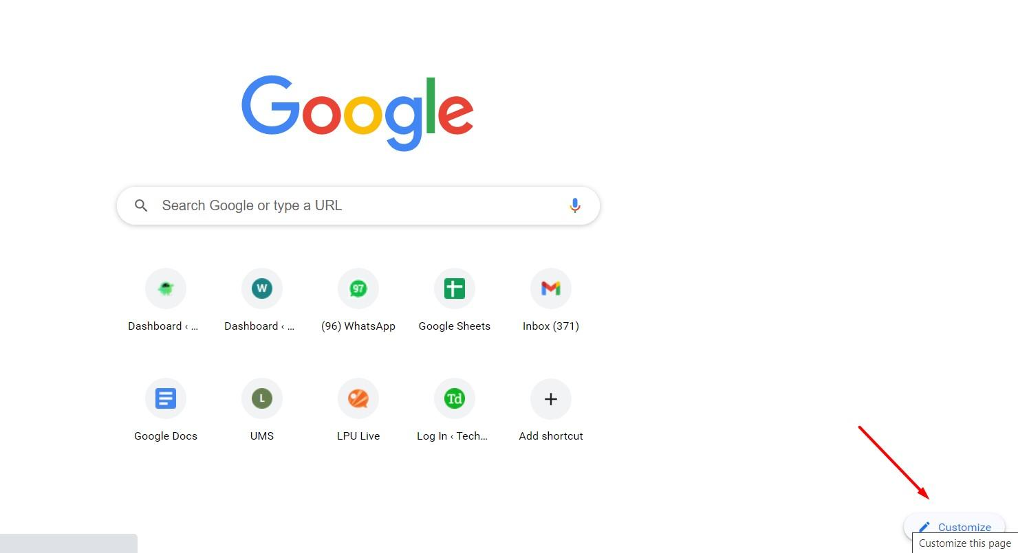 Google Search Engine Homepage Customize link