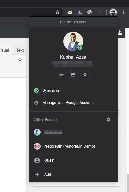 Google Chrome Account Profile Switch and Guest login