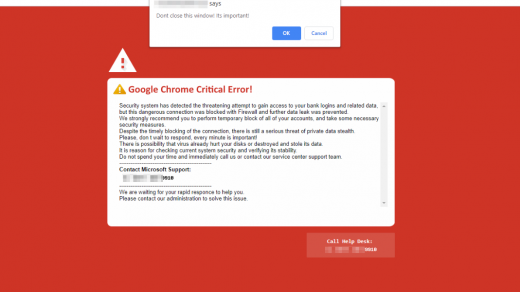 Google Chrome Critical Error Scam Message